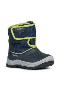 Niebieskie buty zimowe Geox na zimę, z okrągłym noskiem