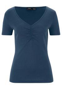 Shirt z dekoltem w serek i marszczeniem bonprix ciemnoniebieski. Typ kołnierza: dekolt w serek. Kolor: niebieski. Materiał: bawełna. Długość rękawa: krótki rękaw. Długość: krótkie