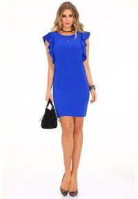 Niebieska sukienka Merribel z falbankami, ołówkowa