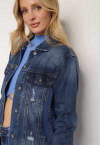 Renee - Granatowa Kurtka Jeansowa Demosyne. Kolor: niebieski. Materiał: jeans. Wzór: aplikacja
