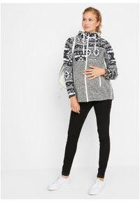 Bluza rozpinana ciążowa z polaru, z wstawką na nosidełko bonprix czarno-biel wełny z nadrukiem. Kolekcja: moda ciążowa. Kolor: czarny. Materiał: polar, wełna. Wzór: nadruk