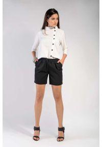 Czarne spodnie z wysokim stanem Nommo krótkie