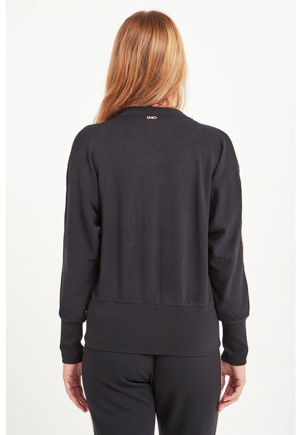 Czarna bluza Liu Jo Sport sportowa, z aplikacjami, z dekoltem w kształcie v