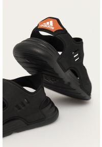 Czarne sandały Adidas na rzepy, gładkie