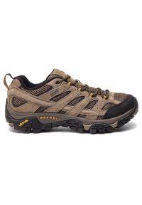 Brązowe buty trekkingowe Merrell z cholewką, trekkingowe