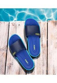 LANO - Klapki damskie basenowe Lano KL-3-6168-8 Blue/Navy. Okazja: na plażę. Materiał: guma. Obcas: na obcasie. Wysokość obcasa: niski