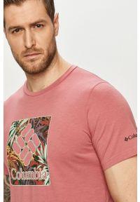 columbia - Columbia - T-shirt. Okazja: na co dzień. Kolor: różowy. Materiał: skóra. Wzór: nadruk. Styl: casual