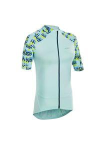 TRIBAN - Koszulka Krótki Rękaw Na Rower 500 Glow Damska. Kolor: niebieski, zielony, turkusowy, wielokolorowy. Długość rękawa: krótki rękaw. Długość: krótkie. Sport: kolarstwo