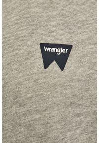 Szara bluza rozpinana Wrangler z kapturem, na co dzień, z nadrukiem, casualowa