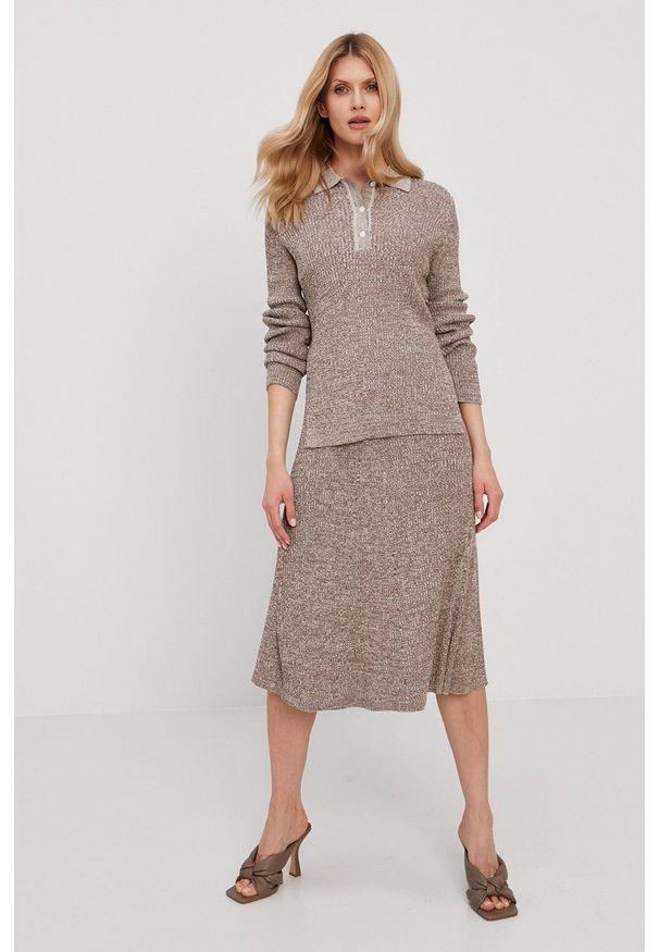 Samsoe & Samsoe - Samsoe Samsoe - Sweter. Okazja: na co dzień. Kolor: beżowy. Materiał: dzianina, bawełna. Długość rękawa: długi rękaw. Długość: krótkie. Styl: casual
