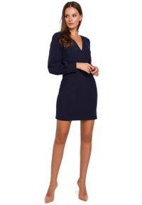 MAKEOVER - Granatowa Sukienka z Długim Bufiastym Rękawem. Kolor: niebieski. Materiał: poliester, elastan
