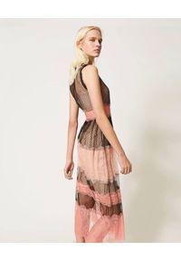Czarna sukienka TwinSet midi, na ramiączkach, w koronkowe wzory