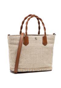 Beżowa torebka klasyczna Lauren Ralph Lauren skórzana