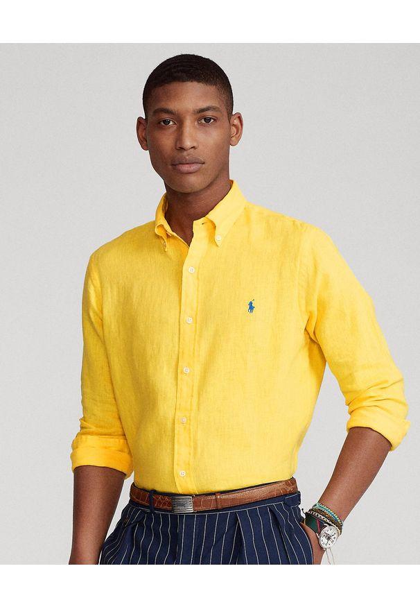 Ralph Lauren - RALPH LAUREN - Żółta koszula z lnu Slim Fit. Typ kołnierza: button down, polo. Kolor: żółty. Materiał: len. Długość rękawa: długi rękaw. Długość: długie. Wzór: haft