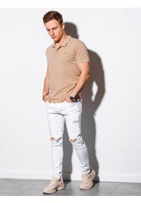 Beżowa koszulka polo Ombre Clothing klasyczna, z haftami