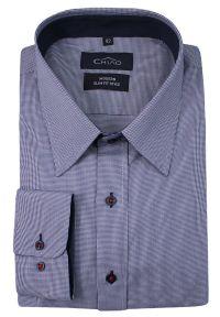 Niebieska elegancka koszula Chiao długa, w kratkę