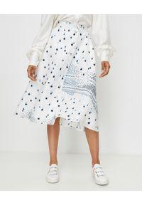 THECADESS - Jedwabna spódnica z dodatkiem lnu Marina. Okazja: do pracy, na spotkanie biznesowe. Kolor: biały. Materiał: jedwab, len. Wzór: nadruk. Styl: biznesowy