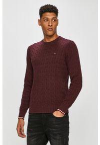 Brązowy sweter TOMMY HILFIGER długi, na co dzień, z aplikacjami, z długim rękawem