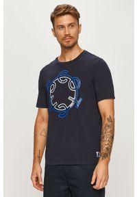 Niebieski t-shirt Scotch & Soda z nadrukiem, z okrągłym kołnierzem