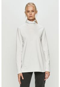 Biała bluzka z długim rękawem Prosto. casualowa, na co dzień, z golfem