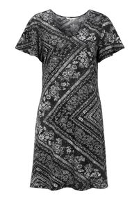 Cellbes Dżersejowa sukienka ze wzorem Czarny we wzory female czarny/ze wzorem 54/56. Typ kołnierza: dekolt w serek. Kolor: czarny. Materiał: jersey. Typ sukienki: rozkloszowane. Styl: elegancki