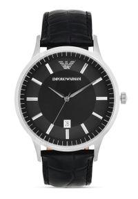 Emporio Armani - Zegarek AR2411. Kolor: czarny. Materiał: skóra, materiał