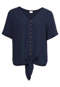 Bluzka z przewiązaniem bonprix ciemnoniebieski. Typ kołnierza: dekolt w serek. Kolor: niebieski