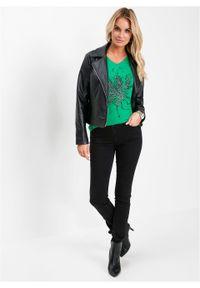 Zielona bluzka bonprix z nadrukiem, z krótkim rękawem, krótka, z dekoltem w serek