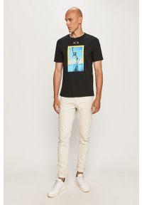 Czarny t-shirt Armani Exchange casualowy, na co dzień