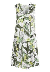 Cellbes Wzorzysta, rozszerzana sukienka z dżerseju zielony biały we wzory female zielony/biały/ze wzorem 58/60. Typ kołnierza: dekolt w serek. Kolor: biały, zielony, wielokolorowy. Materiał: jersey. Długość rękawa: bez rękawów. Typ sukienki: kopertowe