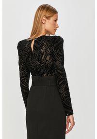 Czarna bluzka Silvian Heach z długim rękawem, casualowa, długa, na co dzień
