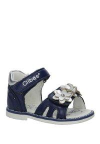 Niebieskie sandały Casu na rzepy, w kwiaty