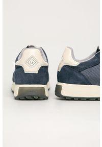 Niebieskie sneakersy GANT na sznurówki, z okrągłym noskiem