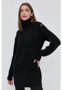 Marciano Guess - Sweter z domieszką wełny. Okazja: na co dzień. Typ kołnierza: golf. Kolor: czarny. Materiał: wełna. Długość rękawa: długi rękaw. Długość: długie. Styl: casual