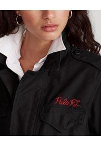 Ralph Lauren - RALPH LAUREN - Czarna parka z haftem. Typ kołnierza: polo. Kolor: czarny. Materiał: bawełna. Długość rękawa: długi rękaw. Długość: długie. Wzór: haft