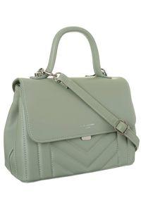 Zielona torebka DAVID JONES w geometryczne wzory, elegancka, skórzana
