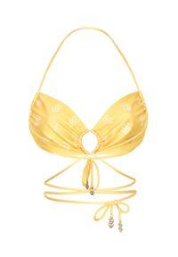 CUORI e PICCHE - Żółta góra od bikini TAN. Kolor: żółty. Materiał: materiał, koronka. Wzór: nadruk