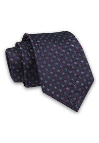 Ciemny Granatowy Elegancki Klasyczny Męski Krawat -Angelo di Monti- 7 cm, w Drobne Kwiatki. Kolor: niebieski, czerwony, wielokolorowy. Materiał: tkanina. Wzór: kwiaty. Styl: klasyczny, elegancki