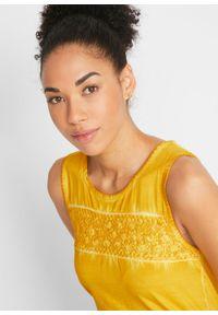 """Długi top bawełniany z efektem """"cold dye"""" z koronkową wstawką bonprix żółty curry. Kolor: żółty. Materiał: koronka, bawełna. Długość: długie"""