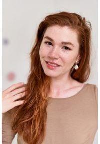 Marie Zélie - Sukienka Limosa beżowa. Kolor: beżowy. Materiał: materiał, wiskoza, dzianina, elastan. Długość: midi