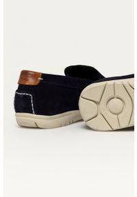 Camel Active - Mokasyny zamszowe. Nosek buta: okrągły. Kolor: niebieski. Materiał: zamsz