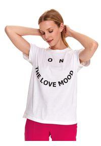 Biały t-shirt DRYWASH z nadrukiem