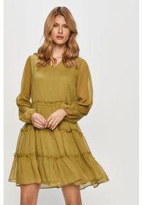 Oliwkowa sukienka Vila na co dzień, prosta, mini