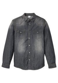 """Koszula dżinsowa Slim Fit, długi rękaw bonprix szary denim """"used"""". Kolor: szary. Materiał: denim. Długość rękawa: długi rękaw. Długość: długie"""