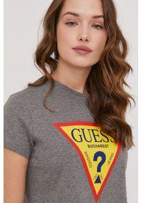 Szara bluzka Guess z nadrukiem, casualowa, na urodziny
