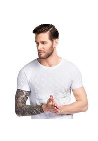 Biały t-shirt Giacomo Conti z nadrukiem, na wiosnę