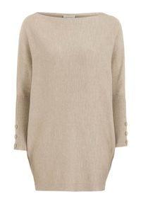 Freequent Długi sweter Sally beżowy melanż female beżowy L/XL (42/44). Kolor: beżowy. Materiał: prążkowany, dzianina. Długość: długie. Wzór: melanż
