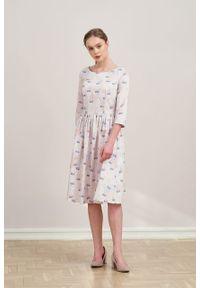 Marie Zélie - Sukienka Melania Anates. Materiał: bawełna, satyna, skóra, materiał. Długość rękawa: krótki rękaw