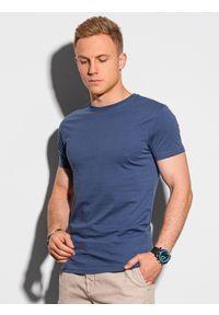 Ombre Clothing - T-shirt męski bawełniany basic S1370 - ciemnoniebieski - XXL. Kolor: niebieski. Materiał: bawełna. Styl: klasyczny