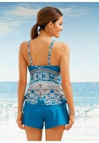 Szorty kąpielowe z figami wewnętrznymi bonprix niebieskozielony morski. Kolor: niebieski